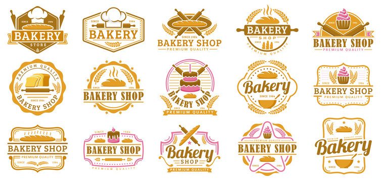 A collection of Bakery logo template, Bakery shop emblem set, vintage retro style logo pack