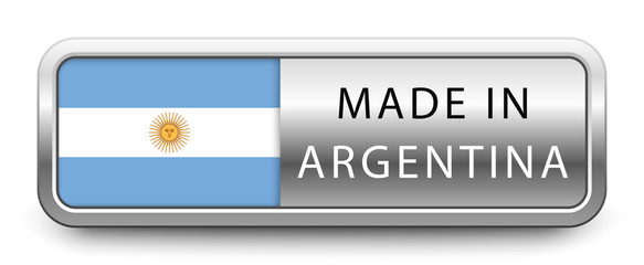 MADE IN ARGENTINA metallic badge with national flag isolated on white background