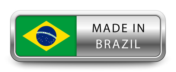 MADE IN BRAZIL metallic badge with national flag isolated on white background