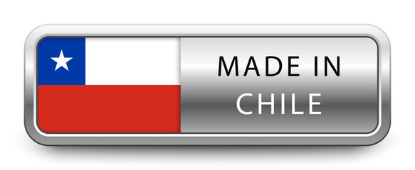 MADE IN CHILE metallic badge with national flag isolated on white background
