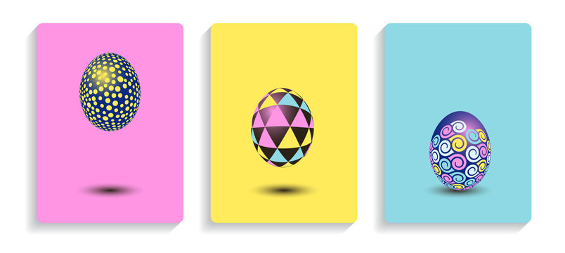 cards set easter eggs geometric patterns pink blue yellow