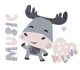 Moose baby dance cute print. Sweet animal listen to music.