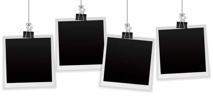 Set of 4 vintage photo frames hanging on a clip. Vintage style. Vector illustration. Photorealistic Vector EPS10 mockups. Retro photo frame templates hanging on wall for your photos.
