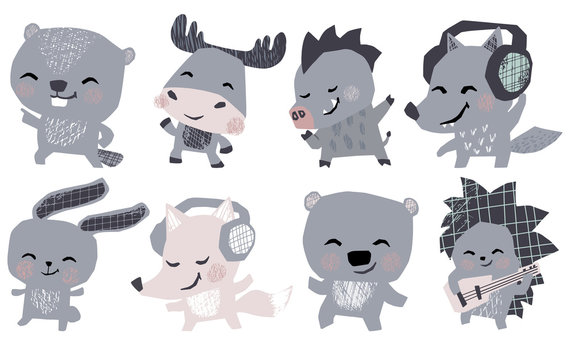 Moose, bunny, bear, fox, hedgehog, wolf, boar, beaver musik band cute set. Animals dance, plays guitar, lisen headphones.