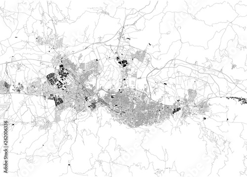 Satellite map of Bursa. It is a large city in Turkey, located in ...