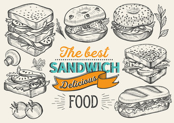 Autocollant pour porte Snack Sandwich illustration - bagel, snack, hamburger for restaurant