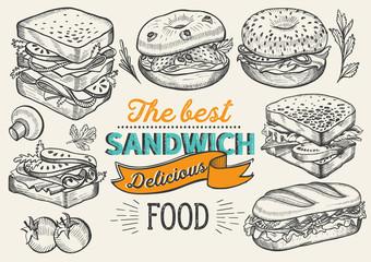 Poster de jardin Snack Sandwich illustration - bagel, snack, hamburger for restaurant