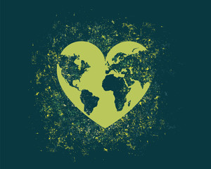 Vector illustration continuous drawing of the heart shaped world.