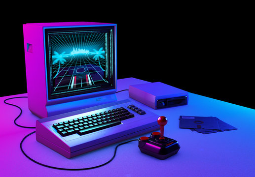 Retro computer old tecnology with a example of retrowave game on the screen - 3d rendering