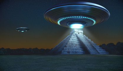 Flying saucer on Maya pyramid ruins Chichen itza in the early night with a light energy ray - 3d rendering - concept art