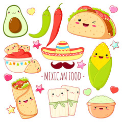 Set of cute mexican food stickers in kawaii style