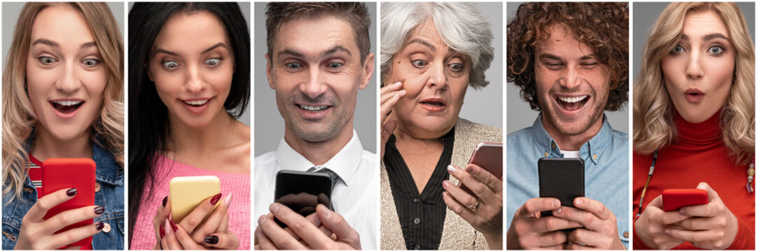 Diverse surprised people with smartphones