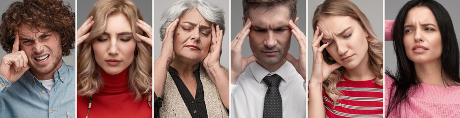 Diverse people having headache