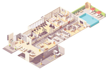 Vector isometric hotel interior