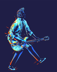Musician with a guitar. Guitarist with duckwalk style. Rockabilly pompadour hair guitar player abstract vector