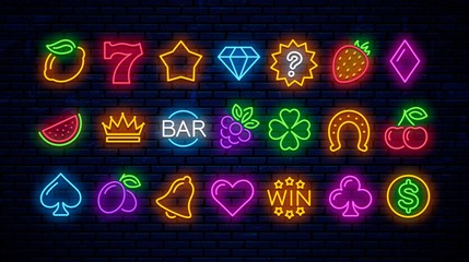 Vector set of neon gaming icons for casinos. Neon signs for slot machines.