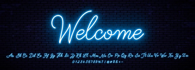 Elegant handwritten neon letters of the English alphabet