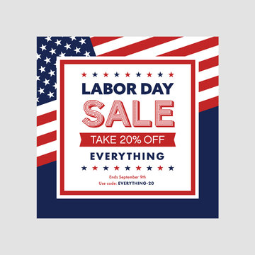 Labor day sale banner template with flag. Vector illustration.