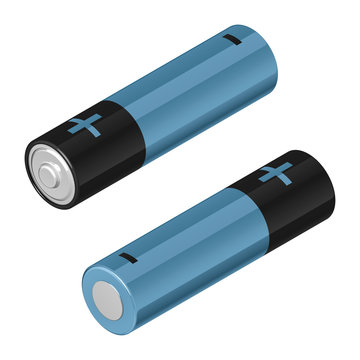 Two AA batteries, black and blue, in isometric view, isolated on white background