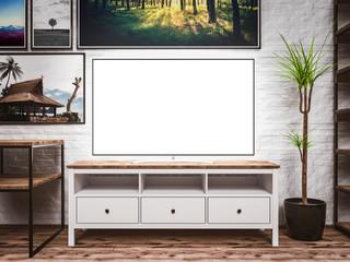TV UHD OLED blank screen loft interior room, stylish concept mockup, template for smart tv applications or Tv programs