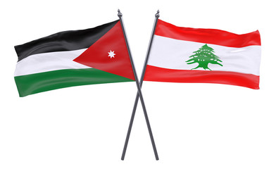 Jordan and Lebanon, two crossed flags isolated on white background. 3d image