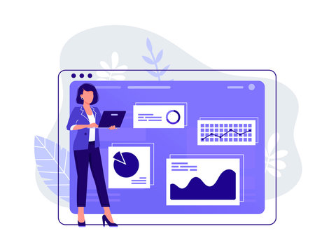 Office worker. Woman is working at her laptop near big computer monitor and the infographics on the background. Work with data, analysis. Isolated flat vector illustration.