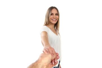 Junger hübschen Frau wird eine Hand gereicht