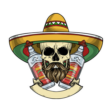 Hand drawn sketch, color skull with sombrero, beard and mustaches and tequila bottle