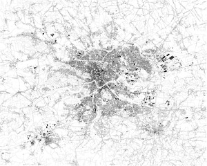 Satellite map of Krakow, it is the second largest and one of the oldest cities in Poland. Map of streets and buildings of the town center. Europe