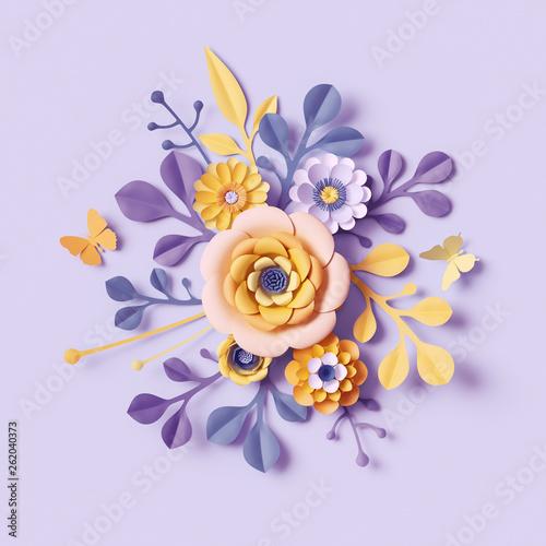 3d Render Pastel Botanical Background Paper Flowers Mother S Day