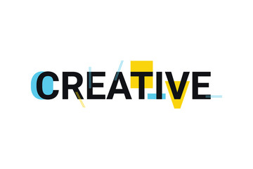 """Graphic design of a word """"creative"""" in playful and trendy way with blue and yellow colors. Modern, simple typography."""