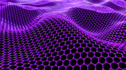 Keuken foto achterwand Roze Abstract network connection. Structure big data. Digital background. Purple hexagonal grid. Abstract music background. 3d render