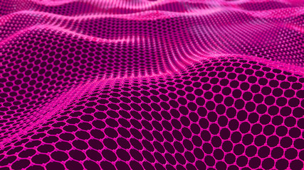 Photo sur Plexiglas Rose Abstract network connection. Structure big data. Digital background. Pink hexagonal grid. Abstract music background. 3d render