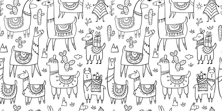 Cute lamas, seamless pattern for your design