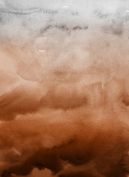 Orange with brown ink and watercolor textures on white paper background. Paint leaks and ombre effects. Hand painted abstract image.