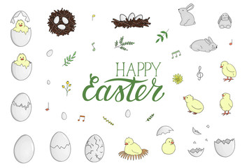 Vector set of hatching chicks, rabbits, eggs, herbs, flowers isolated on white. Cute cartoon style illustration. Hand drawn doodle Easter collection with lettering. Children illustration..