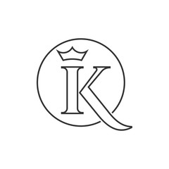 letter K and crown logo illustration