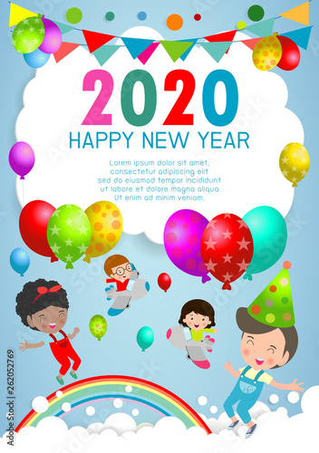 Happy New Year 2020 design greeting card with kids on background