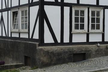 Corner of a historic timber framed house at Freudenberg