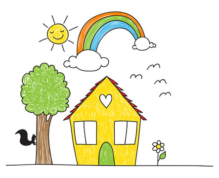 Children's drawing style house and surroundings