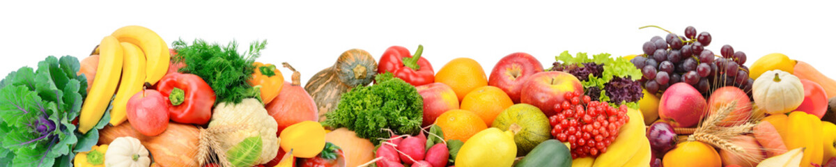 Photo sur Toile Légumes frais Fruits and vegetables isolated on white background. Panoramic collage. Wide photo with free space for text.