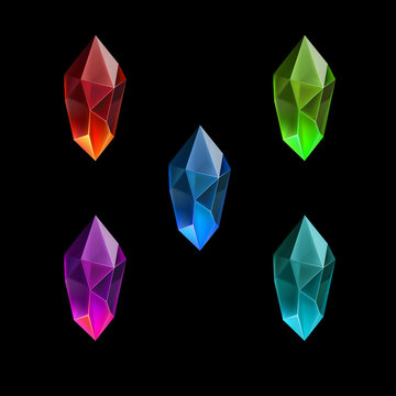 Set of Different Game Resources Cartoon Gems or Crystals. Luxury Symbol on the Black Background