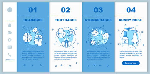 Sicknesses onboarding mobile app page screen vector template