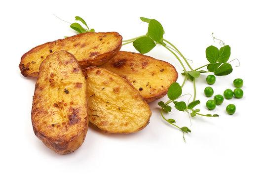 Homemade baked potato wedges, fry potatoes, close-up, isolated on white background