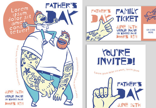 Father's Day Event Flyer Set with Cartoon-Style Illustrations