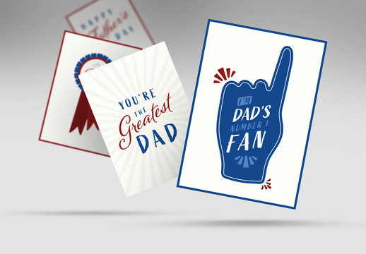 Father's Day Card Set with Blue and Red Illustrations