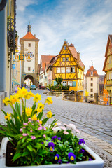 Wall Mural - Medieval town of Rothenburg ob der Tauber in summer, Bavaria, Germany
