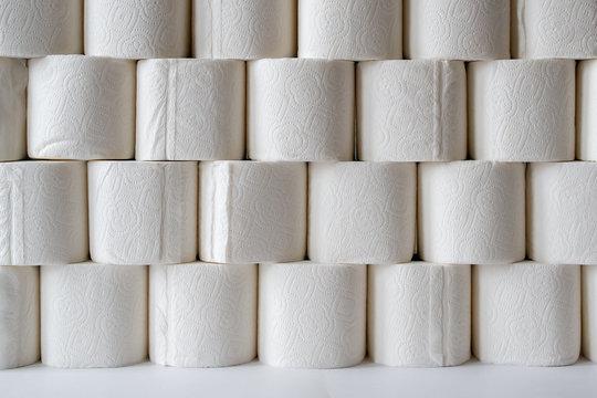 rhythmic pyramid of toilet paper rolls