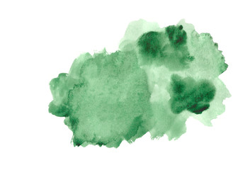 green watercolor strokes isolated on white background.Green paint shades Wall mural