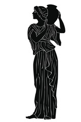 An ancient Greek woman in a tunic is standing with a jug in her hands. Vector image isolated on a white background.